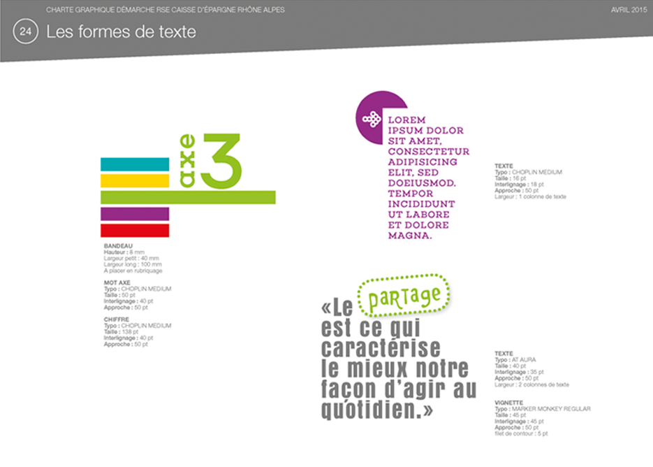 charte graphique CERA-formes de texte